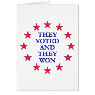 Los votaron ganaron tarjeta pequeña