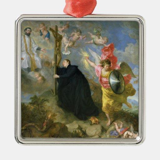 Los votos del santo Aloysius de Gonzaga Adorno Navideño Cuadrado De Metal