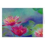 Los waterlilies de la charca de las flores de Wate Tarjeton