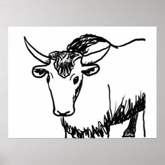 Los yacs resumen en el negro, búfalo del bisonte d póster