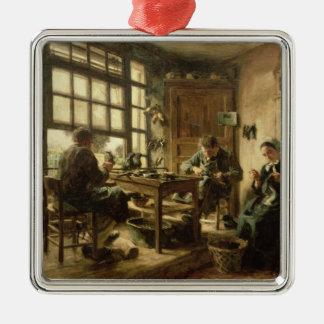Los zapateros, 1880 adorno navideño cuadrado de metal