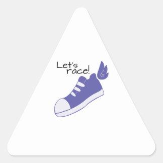¡Los zapatos cons alas dejan la raza! Pegatina Triangular
