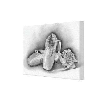 Los zapatos de ballet envolvieron la lona impresión en lienzo estirada