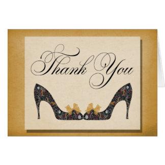 Los zapatos del oro del vintage le agradecen las t tarjeta pequeña