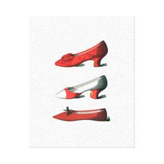 Los zapatos del rojo lienzo envuelto para galerias
