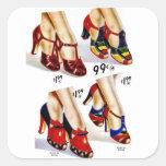 Los zapatos del vintage del kitsch de las mujeres calcomania cuadradas personalizadas