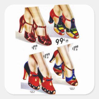 Los zapatos del vintage del kitsch de las mujeres pegatina cuadrada