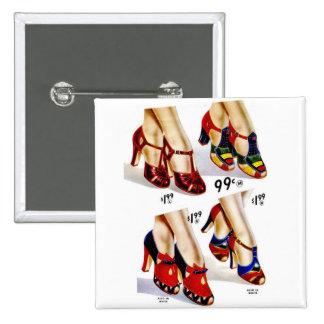 Los zapatos del vintage del kitsch de las mujeres  pin cuadrada 5 cm