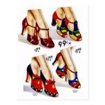 Los zapatos del vintage del kitsch de las mujeres postal