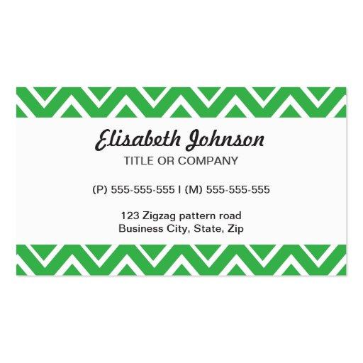Los zigzags caprichosos verdes zigzaguean modelo tarjetas de visita