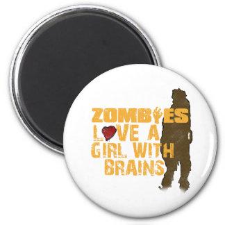 Los zombis aman a un chica imán redondo 5 cm