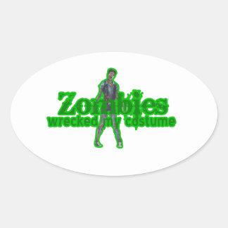 Los zombis arruinaron mi traje - Halloween Pegatina Ovalada