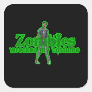 Los zombis arruinaron mi traje - Halloween Pegatina Cuadrada