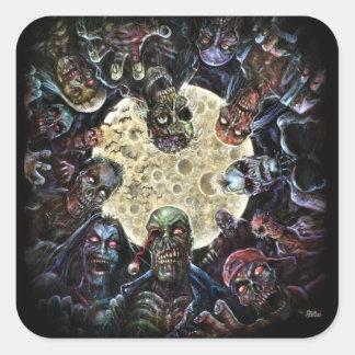 Los zombis atacan (la horda del zombi) pegatina cuadrada
