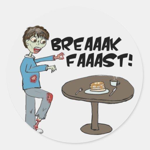Los zombis comen al pegatina del desayuno