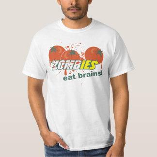 ¡Los zombis comen cerebros! Playera