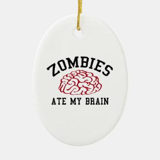 Los zombis comieron mi cerebro adorno navideño ovalado de cerámica