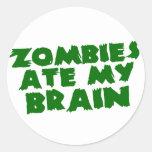 Los zombis comieron mi cerebro etiqueta redonda