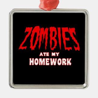 Los zombis comieron mi preparación adorno navideño cuadrado de metal
