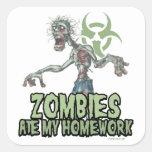 Los zombis comieron mi preparación calcomanías cuadradass personalizadas