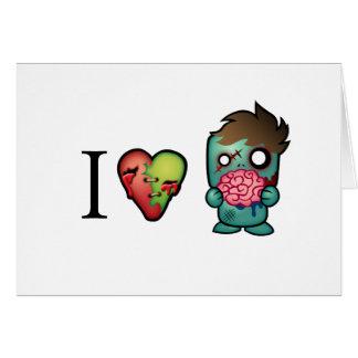 ¡Los zombis de los cerebros I <3 están por todas p Tarjeta De Felicitación