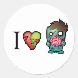 ¡Los zombis de los cerebros I <3 están por todas Pegatina Redonda
