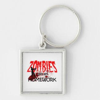 Los zombis del regalo del zombi comieron mi prepar llavero cuadrado plateado