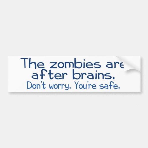 Los zombis están después de cerebros pegatina de parachoque