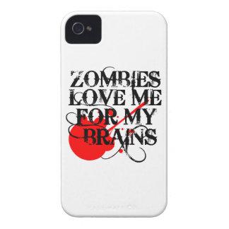 Los zombis me aman para mi cerebro iPhone 4 Case-Mate cobertura