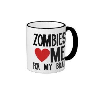 Los zombis me aman para mi cerebro taza a dos colores