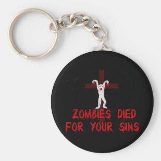 Los zombis murieron por sus pecados llavero redondo tipo pin