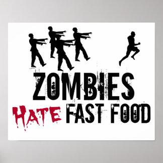 Los zombis odian el poster de los alimentos de pre