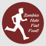 ¡Los zombis odian los alimentos de preparación Pegatina Redonda