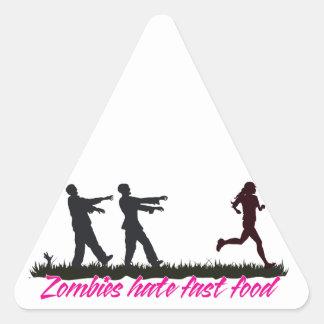 Los zombis odian los alimentos de preparación pegatina triangular