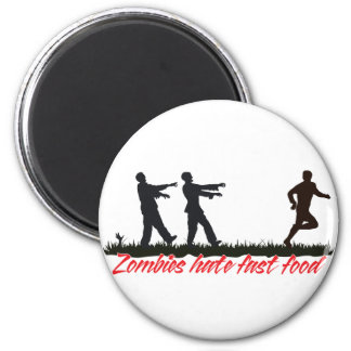 Los zombis odian los alimentos de preparación rápi imán redondo 5 cm