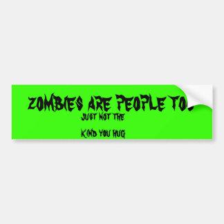 los zombis son gente también etiqueta de parachoque