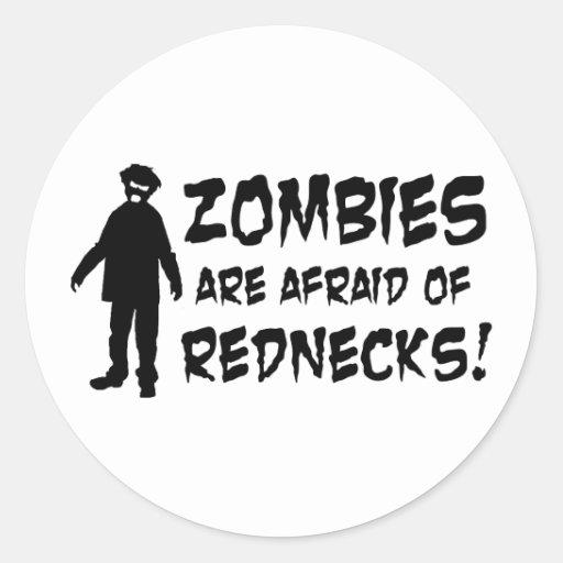Los zombis tienen miedo de campesinos sureños pegatina redonda
