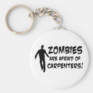 Los zombis tienen miedo de carpinteros llavero redondo tipo pin