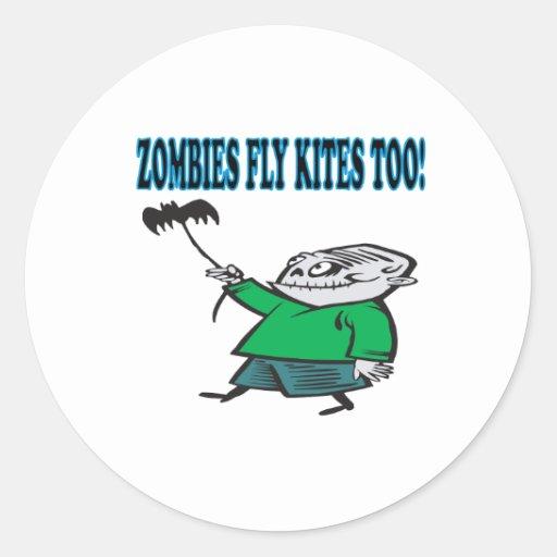 Los zombis vuelan cometas también etiquetas redondas