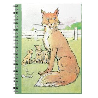 Los zorros son siempre ejemplo hambriento del vint cuadernos