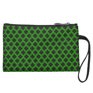 losange vert suede wristlet wallet