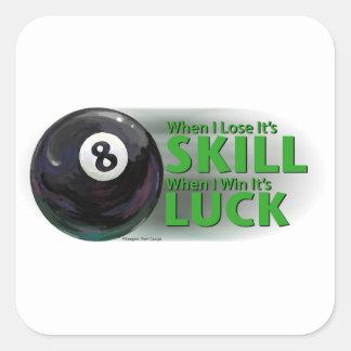 Lose Skill Win Luck 8 Ball Square Sticker