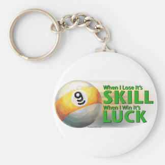 Lose Skill Win Luck 9 Ball Basic Round Button Keychain