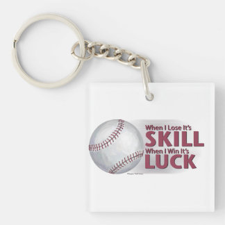 Lose Skill Win Luck Baseball Double-Sided Square Acrylic Keychain
