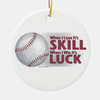 Lose Skill Win Luck Baseball Double-Sided Ceramic Round Christmas Ornament