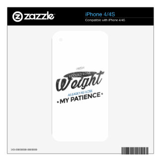 Lose Weight Not Patience Decals For iPhone 4S