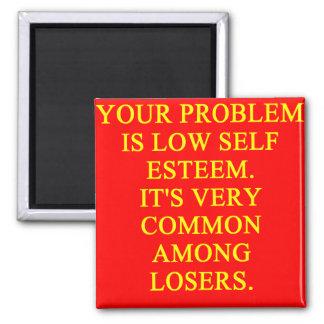 LOSER low self esteem 2 Inch Square Magnet