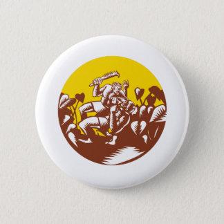 Losi Defeating God Circle Woodcut Button