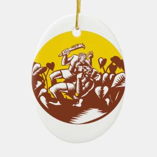 Losi Defeating God Circle Woodcut Ceramic Ornament