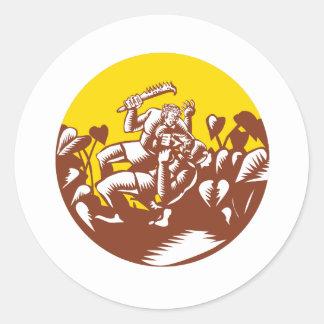 Losi Defeating God Circle Woodcut Classic Round Sticker
